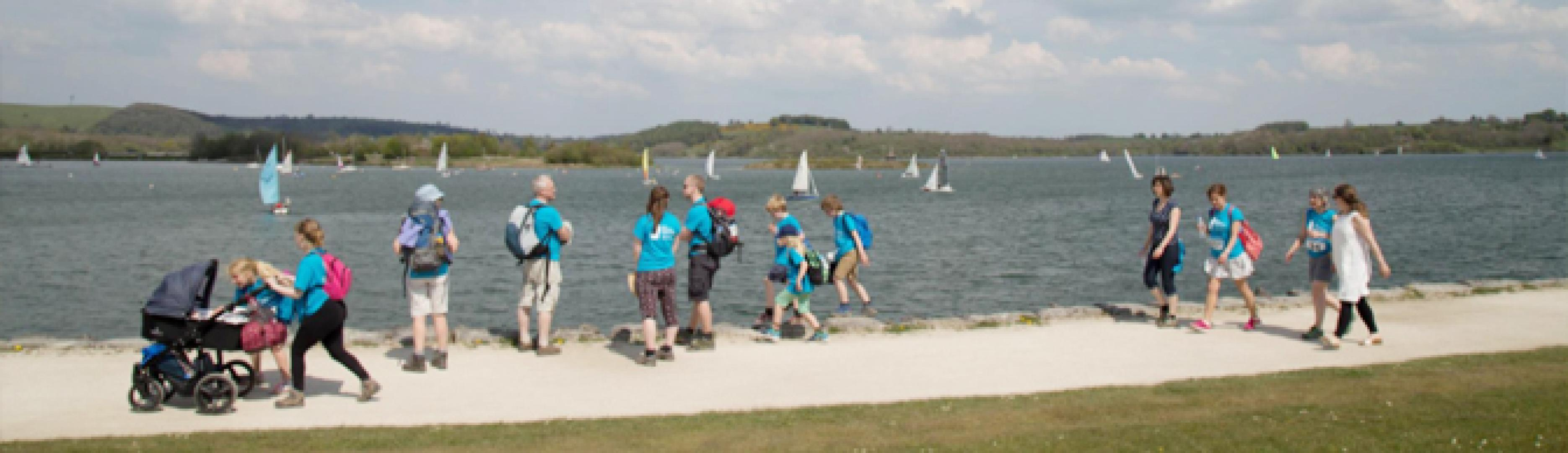 Contours staff walking alongside Carsington Water for the Ellen MacArthur Cancer Trust