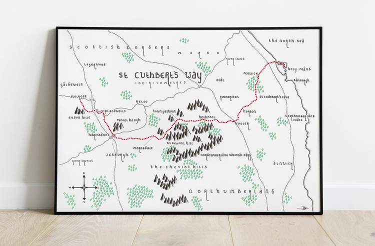 A hand-drawn map of St Cuthbert's Way in Tolkien's style, the perfect Christmas gift
