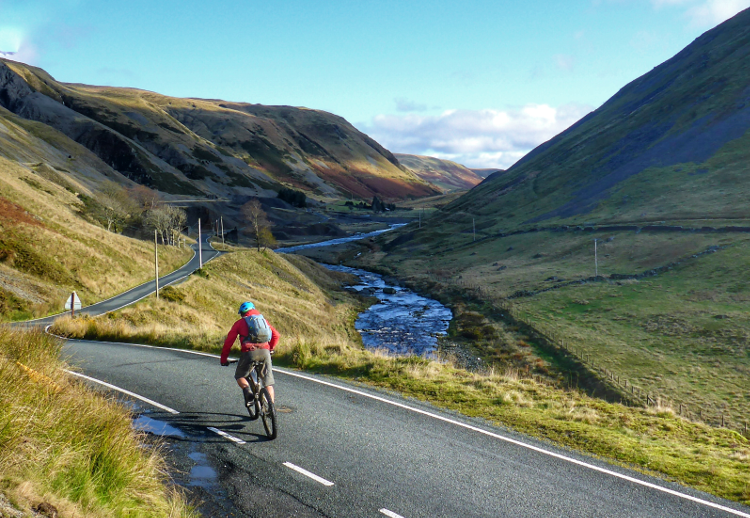 A brief stretch of road cycling on the Trans Cambrian Way