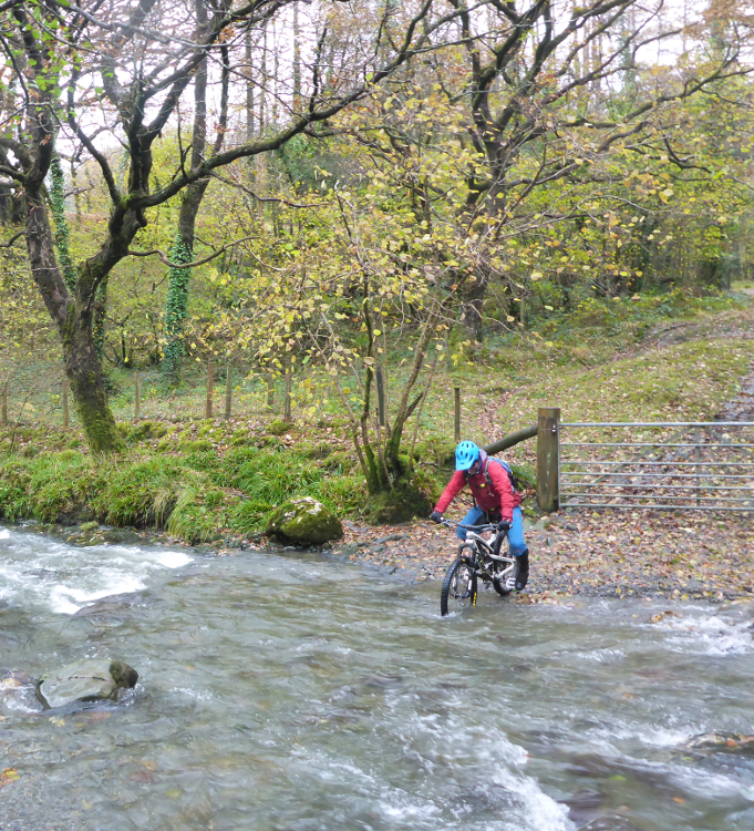 Cycling through deep water across a byway