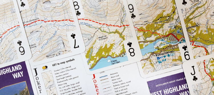 Christmas gifts for walkers: the WHW map printed on playing cards